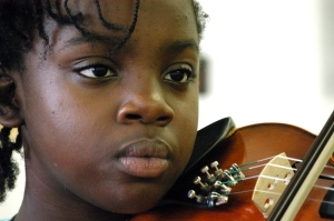 A Music Haven student in performance. Photo by Kathleen Cei.
