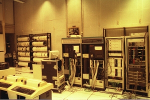 The machine room at IRCAM, 1989. Photo by Martin Guy